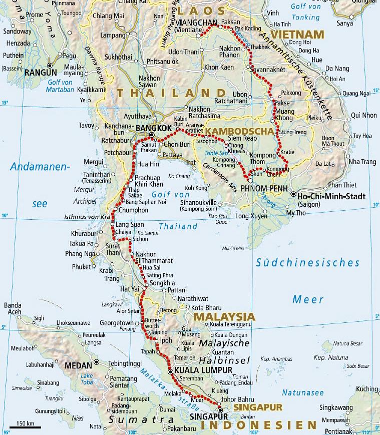 Karte Reiseroute